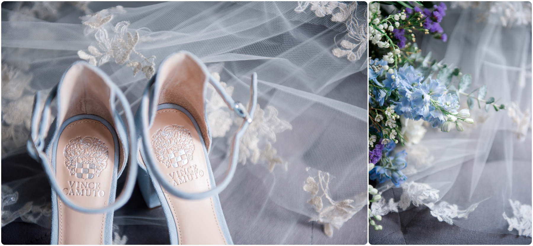wedding details like viel and shoes