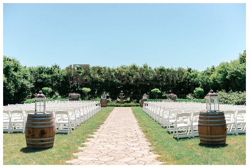 wedding ceremony site setup before guests enter at Bloom Field Gardens
