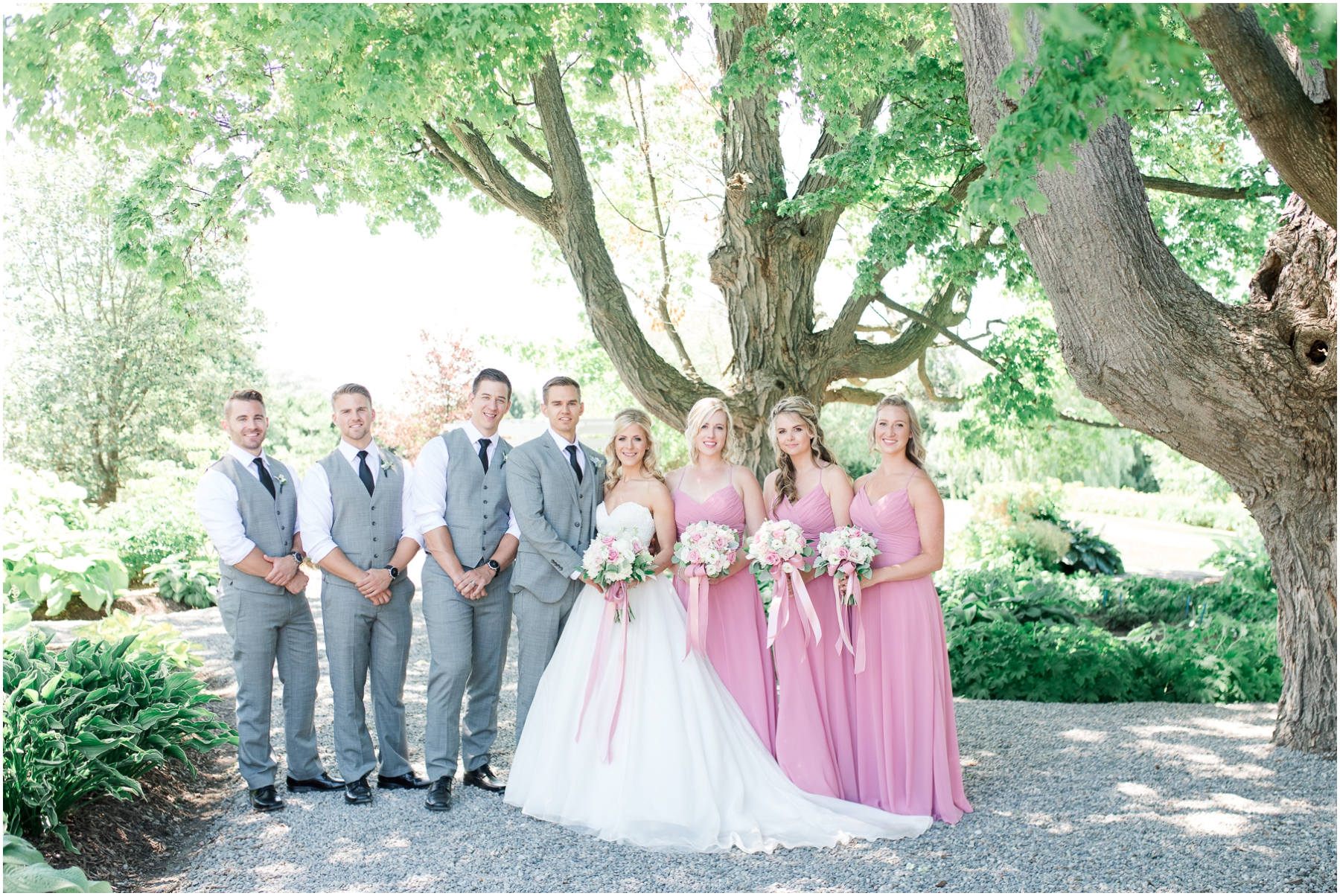 wedding party in pink and grey