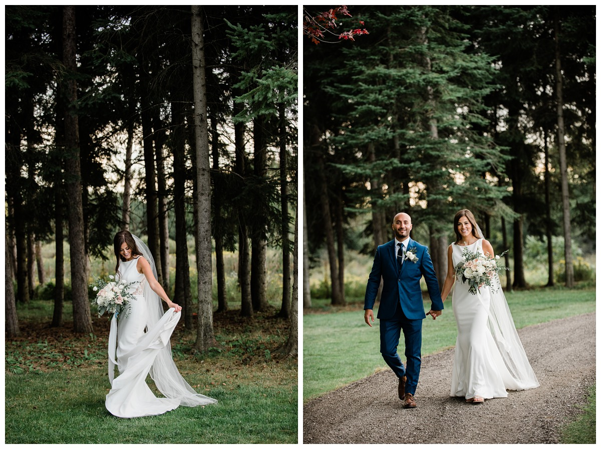 Elegant bride twirling in wedding dress in forest at Royal Ashburn Golf Club in Whitby