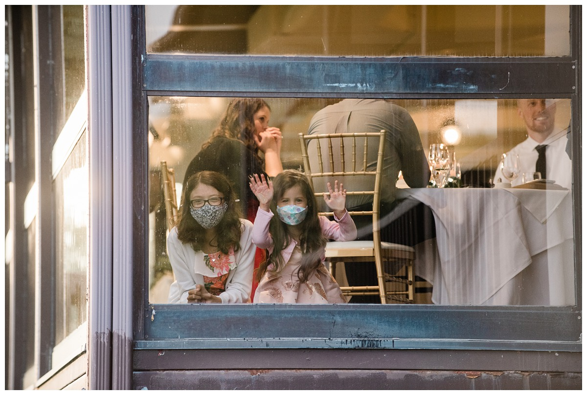 Children wearing masks attend a wedding at Royal Ashburn in Whitby during covid19 pandemic
