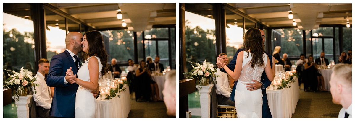 Intimate first dance with elegant bride and groom during wedding at Royal Ashburn in Whitby