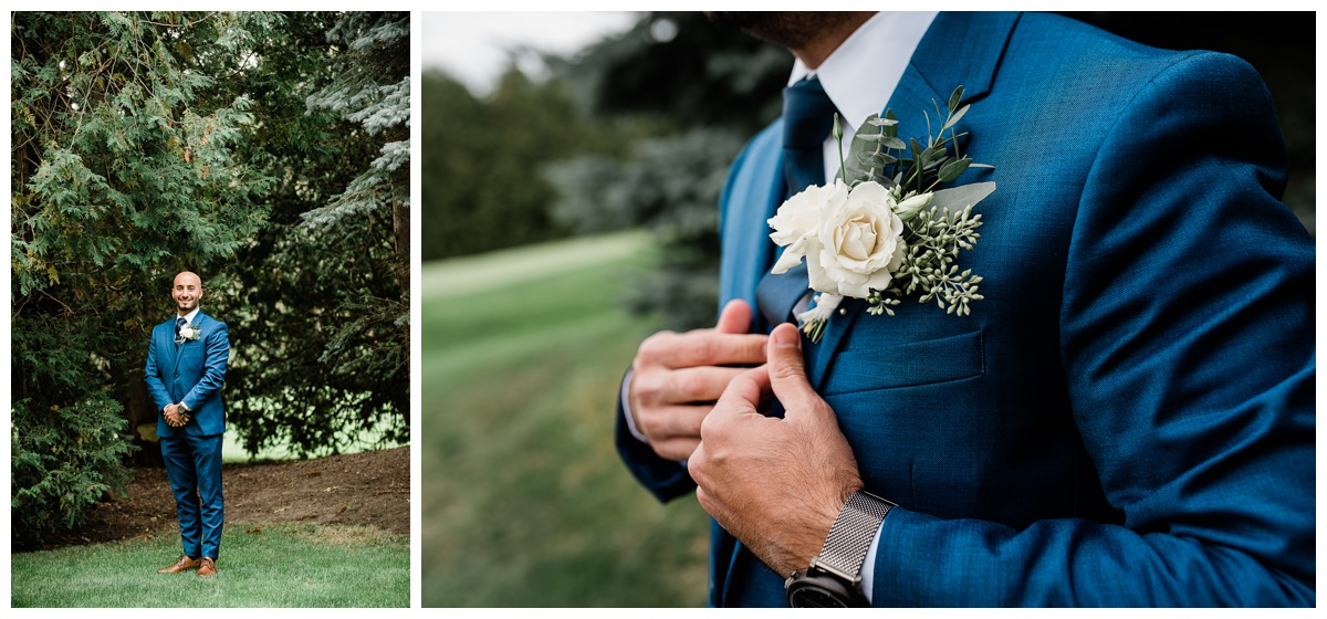 Handsome groom portrait in blue suit at Royal Ashburn wedding in Whitby