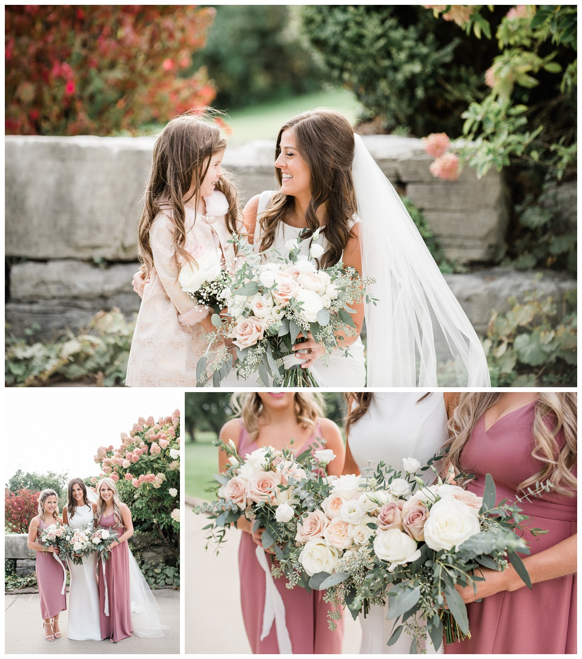 Collage of elegant bride and blush bridesmaids with stunning florals at Royal Ashburn in Whitby