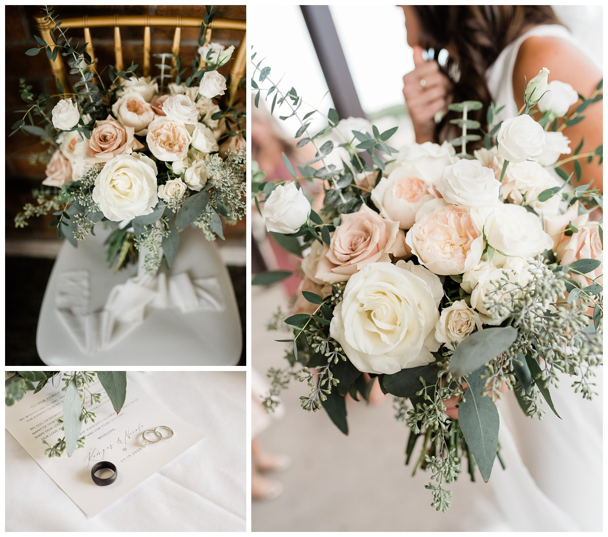 Stunning elegant bouquet of peach garden roses and eucalyptus for Royal Ashburn wedding in Whitby
