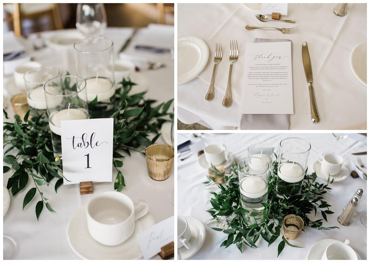 Table setting for elegant wedding at Royal Ashburn in Whitby