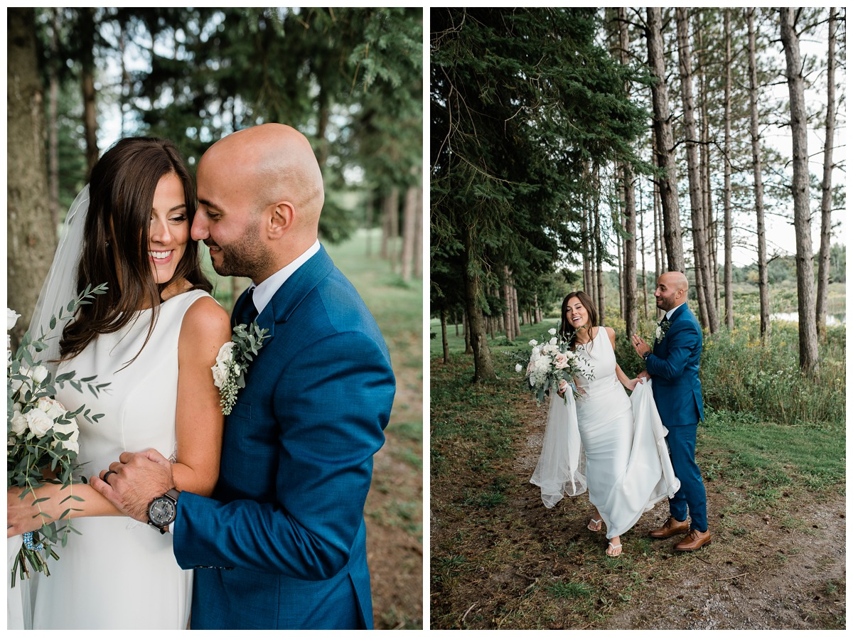 Bride and groom sharing intimate moment in woods at Royal Ashburn wedding in Whitby